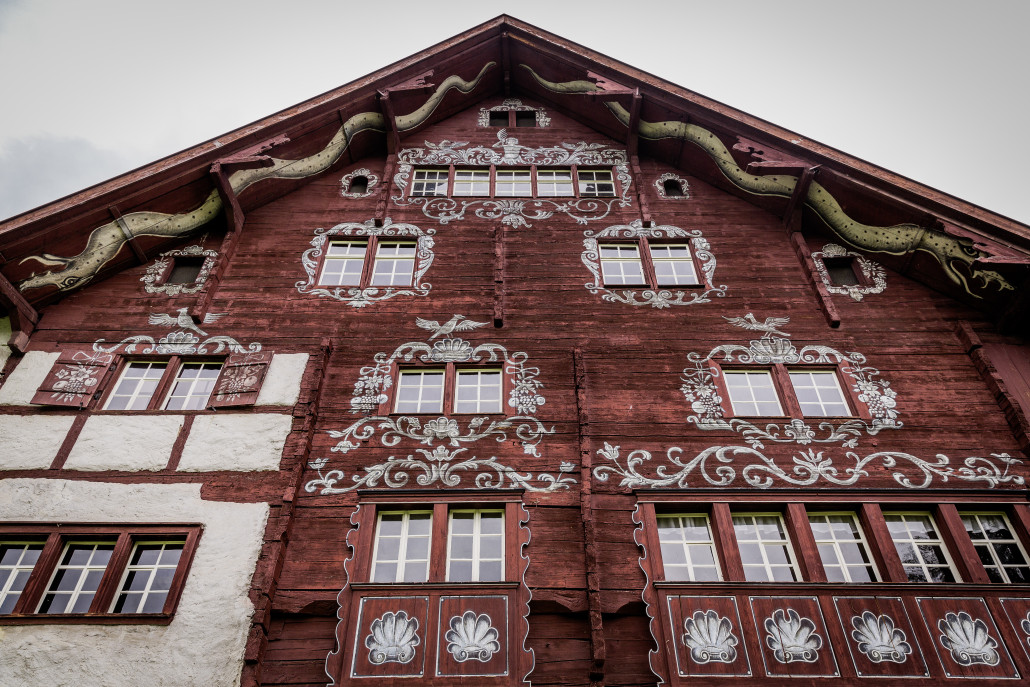 Werdenberg, St. Gallen, Schweiz, 28. April 2014 - Schlangenhaus in Werdenberg, Museum, Schloss Mediale.